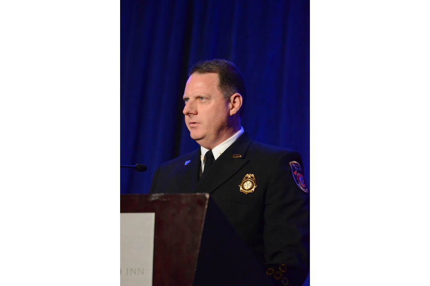 Fire Chief Dan Hagedorn spoke about the performance of firefighter/EMT Kevin Powers.
