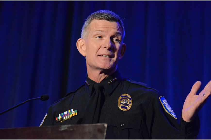 Winter Park Police Chief Michael Deal cracked a few jokes during at the podium.