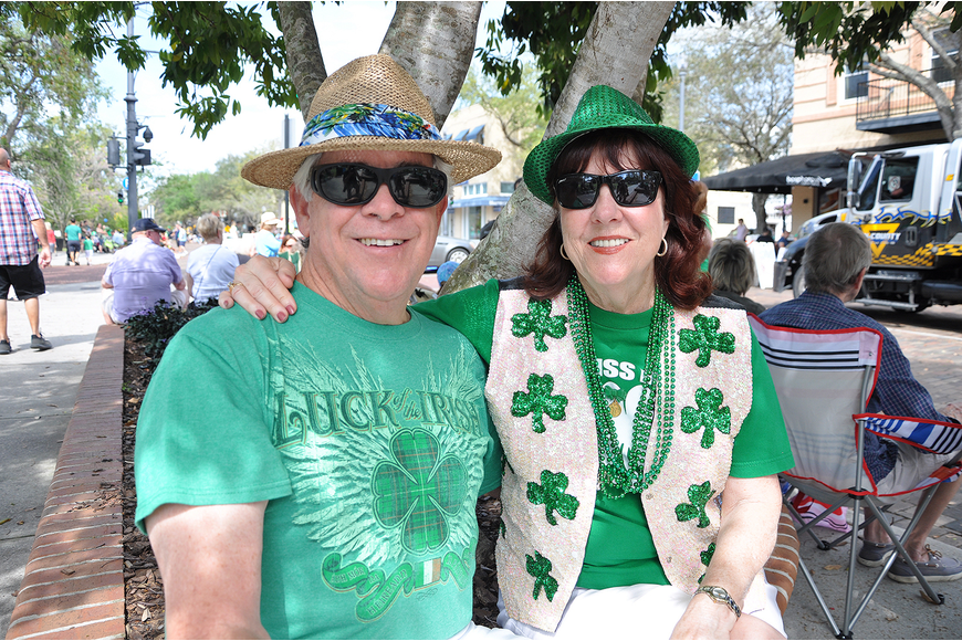 Bill and Anne Chamberlin made sure to wear their green to the parade.