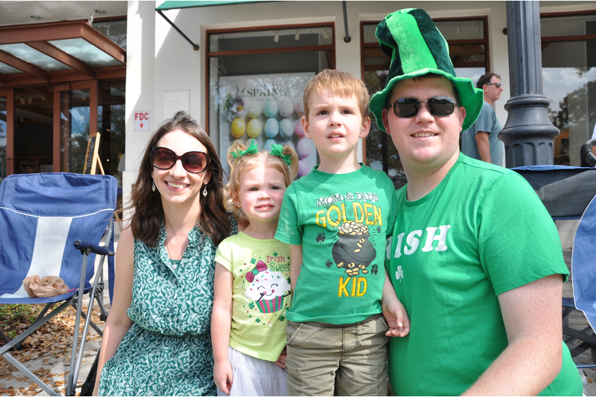Aleks; Audrey, 2; Luke, 4; and Patrick Clayton grabbed a nice spot to watch the parade from.