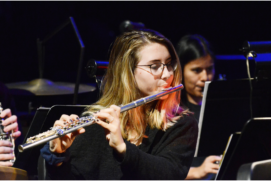 Flute player Megan Bradley performed with the orchestra.