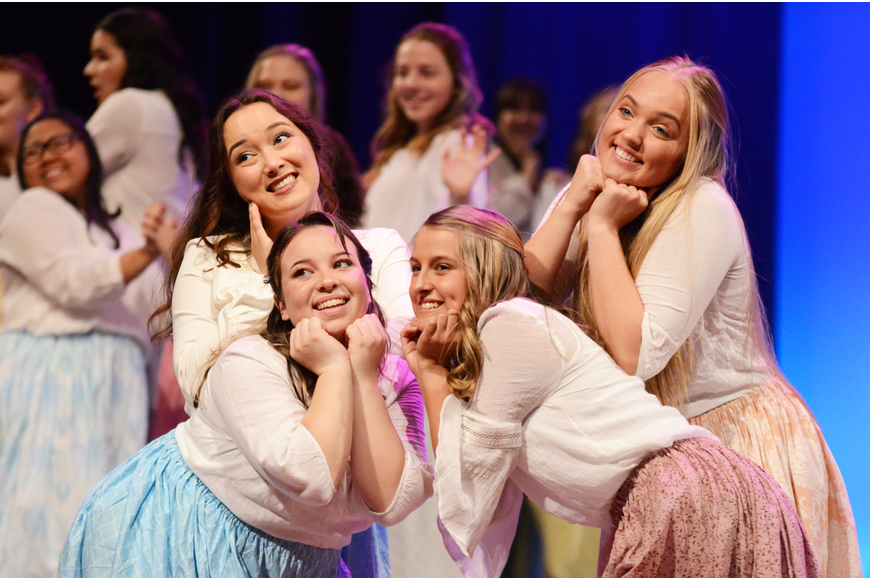"Anastasia Sims-Chin, Elise Wienke, Natalie Howell and Madeleine Roby struck a pose during ""Poor Wandering One!"""