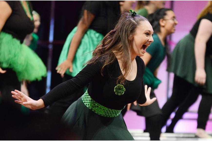 "Danielle Ruddy danced to the upbeat music of ""Everybody Rejoice."""