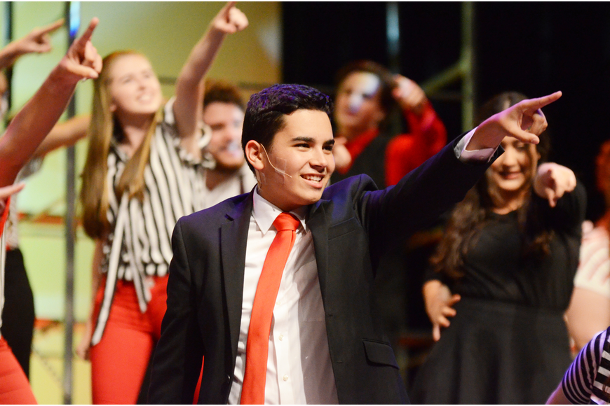 "Jeremy Roldan and the rest of the students went all out for a version of ""Freak Flag"" from ""Shrek The Musical."""