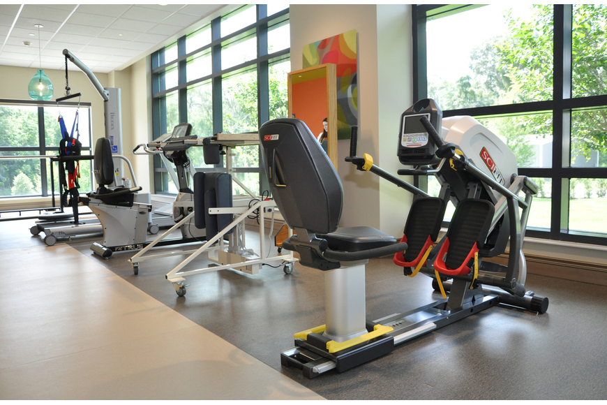 The new facility offers a gym for physical therapy, among several other services.