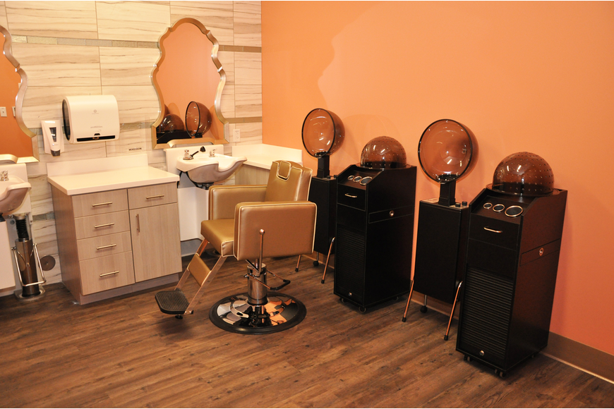 The memory care wing has a salon for patients to get their hair done.