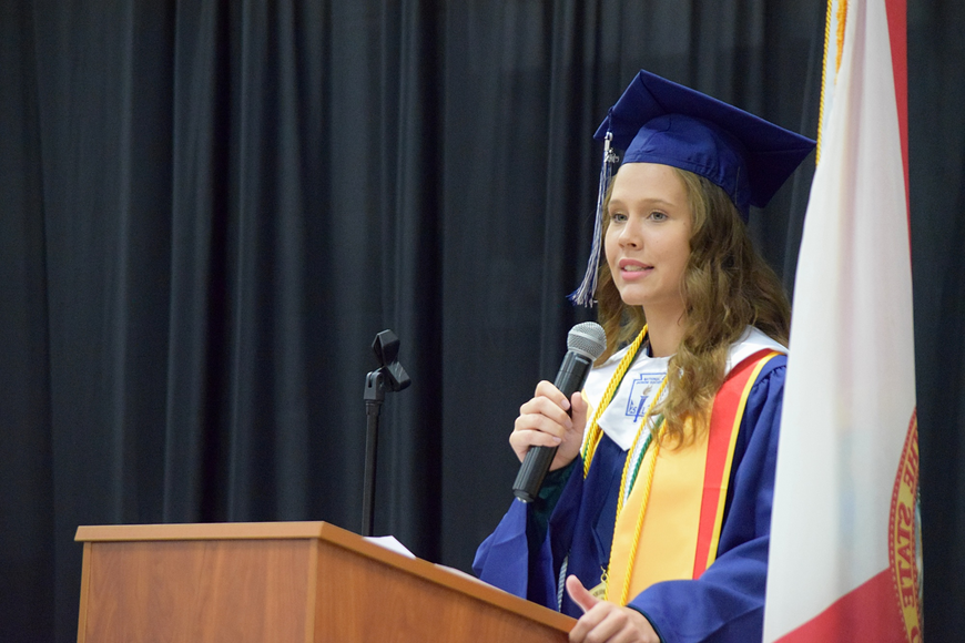 Valedictorian Abigail Dannels, who has attended Legacy her whole life, offered her fellow seniors some advice during her speech.