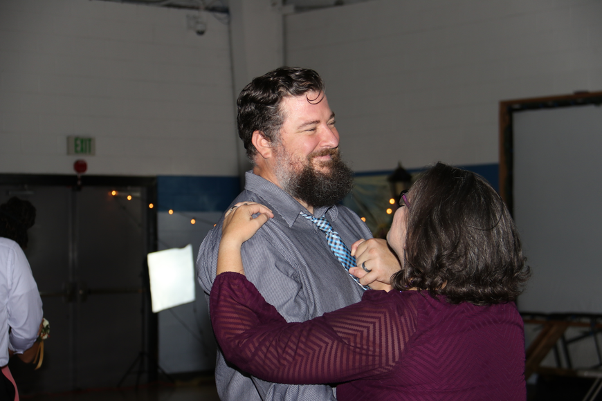 Howard Salter couldn't help but smile as he danced with his wife, Becky.