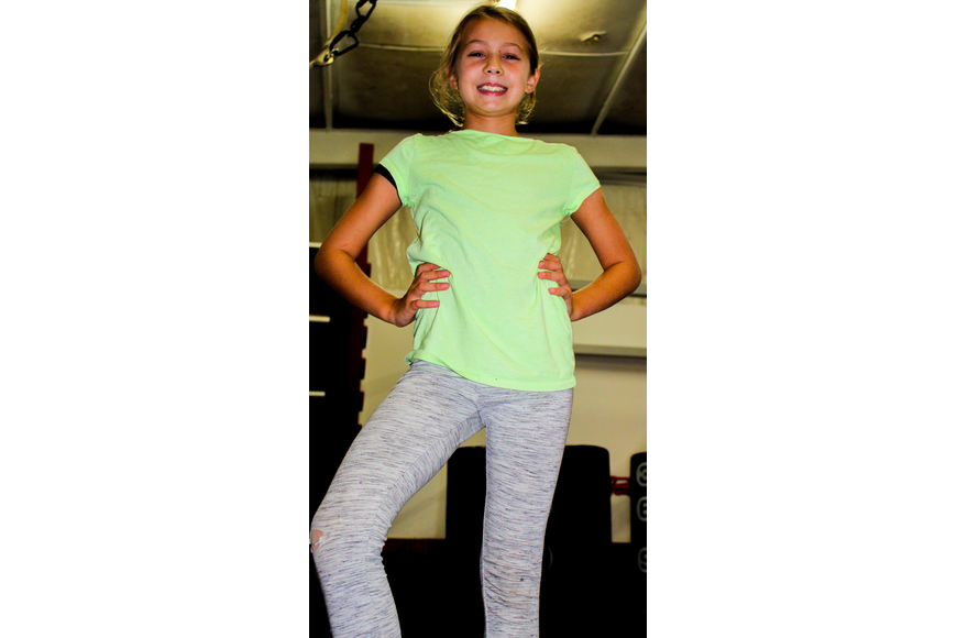 Sydney Schaber, 10, popped her knee out to spice up the start of the dance routine.