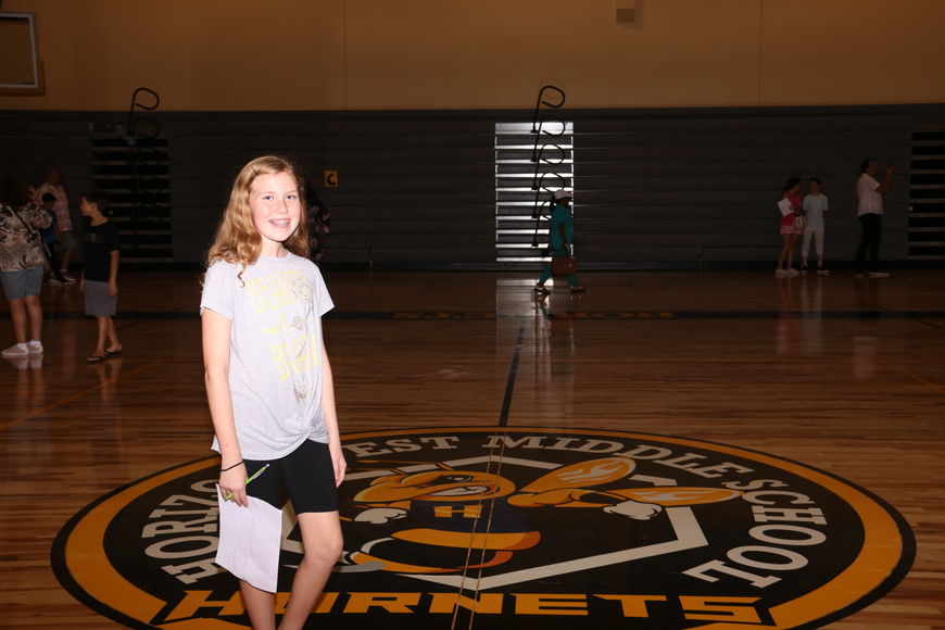 Sixth-grader Melanie Rousso, 11, said it was the first time she'd seen a school with a gymnasium.