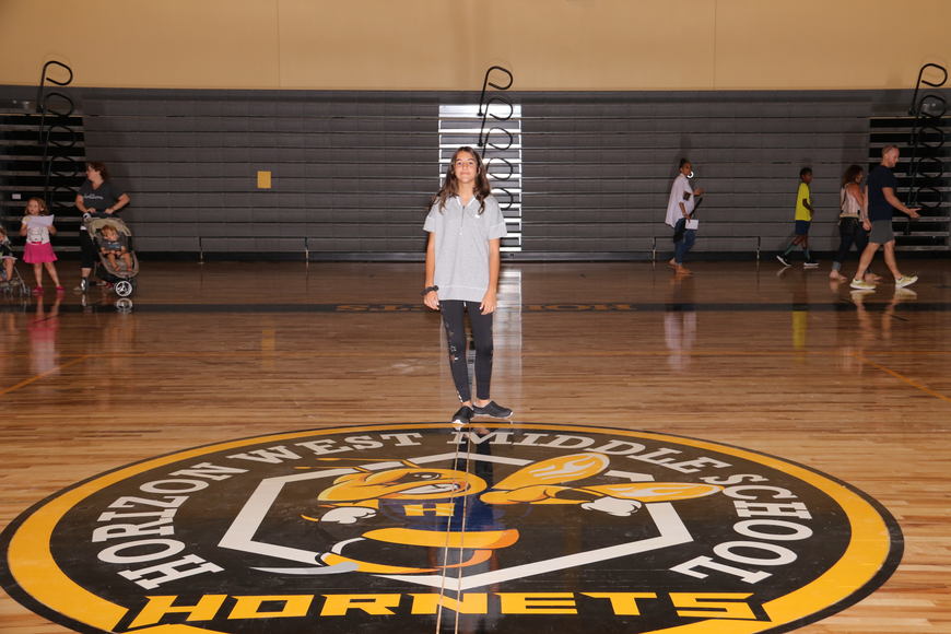 Sixth-grader Isabelle Rodrigues, 11, was excited to check out the school gymnasium.