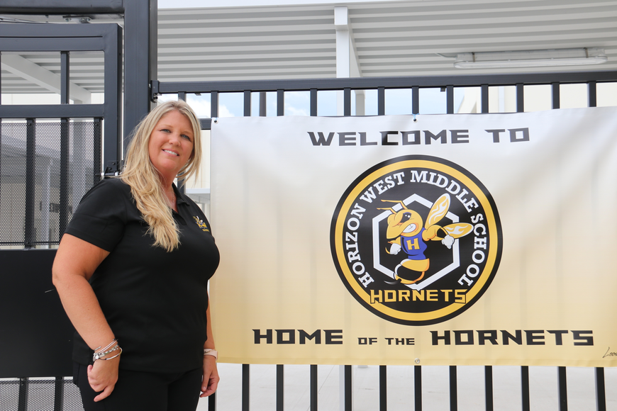Principal Michelle Thomas was onsite to mix, mingle and welcome parents and students to the new school.