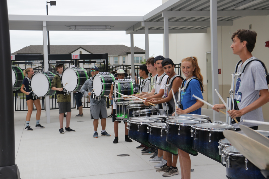 Drum beats from the Windermere High drum line could be heard all throughout the school during their performance.