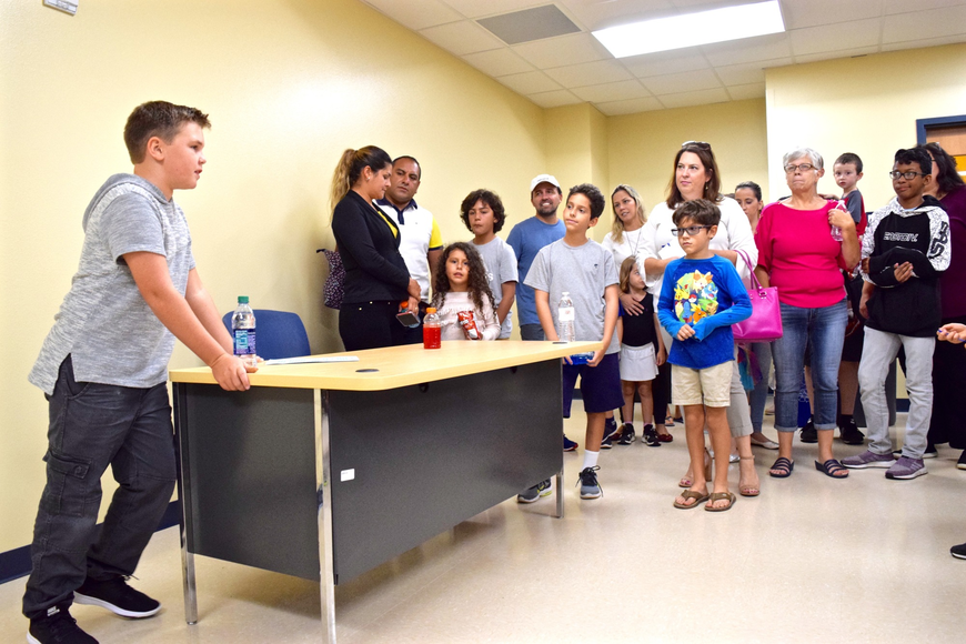 Rising fifth-grader Ryan Jueds introduced Castleview students and families to their state-of-the-art computer lab.