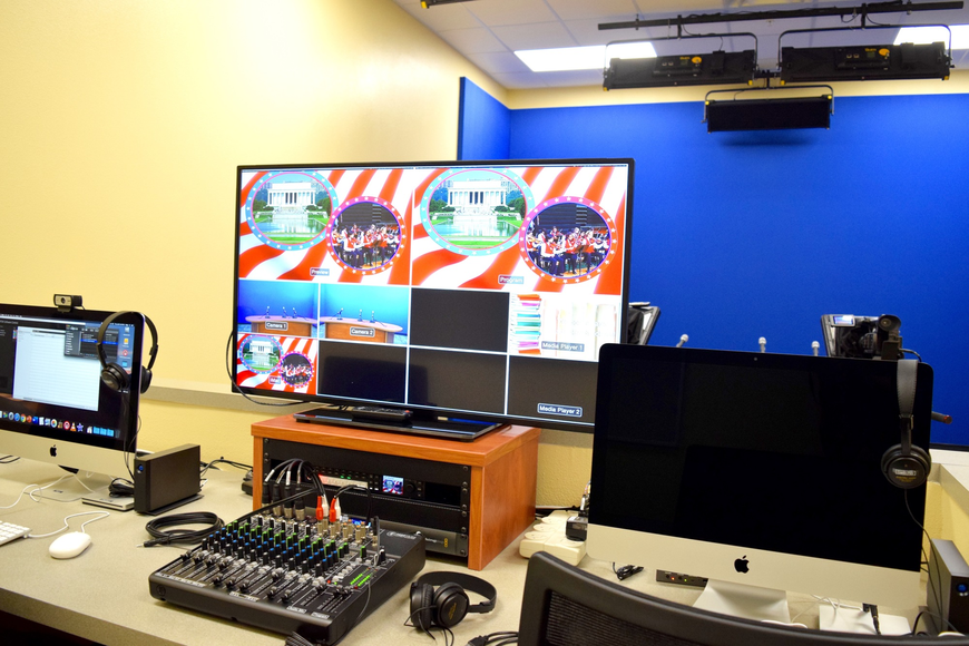 The student television-production lab is filled with state-of-the-art electronics.