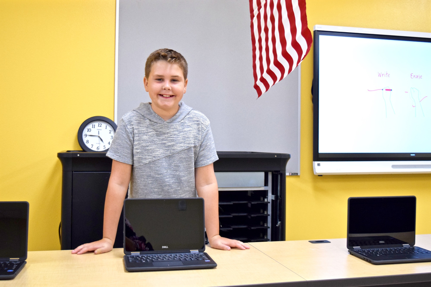 Rising fifth-grader Ryan Jueds was happy to talk about the computer lab.
