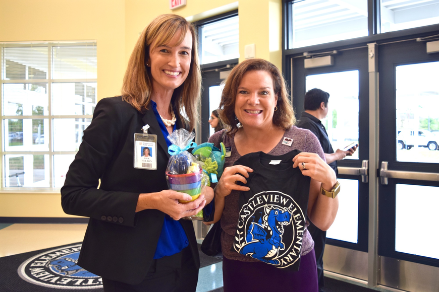 Principal Dr. Julie Helton and District 4 School Board Member Pam Gould were thrilled to finally open Castleview's doors.