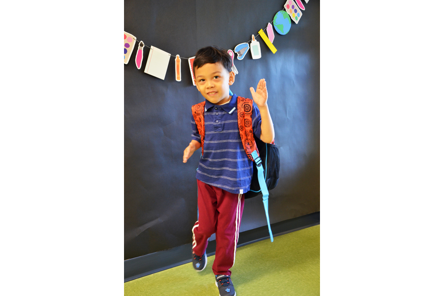 Levi Zhang struck a pose, excited to get to his classroom on the first day of school at Castleview Elementary School.