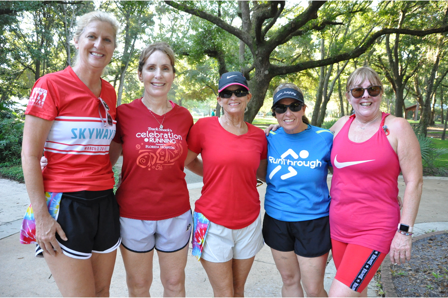 Michele Nunnelley, Nita Robbins, Gina Draper, Teresa Mandese and Cheryl Castelyn finished the 5K with smiles.