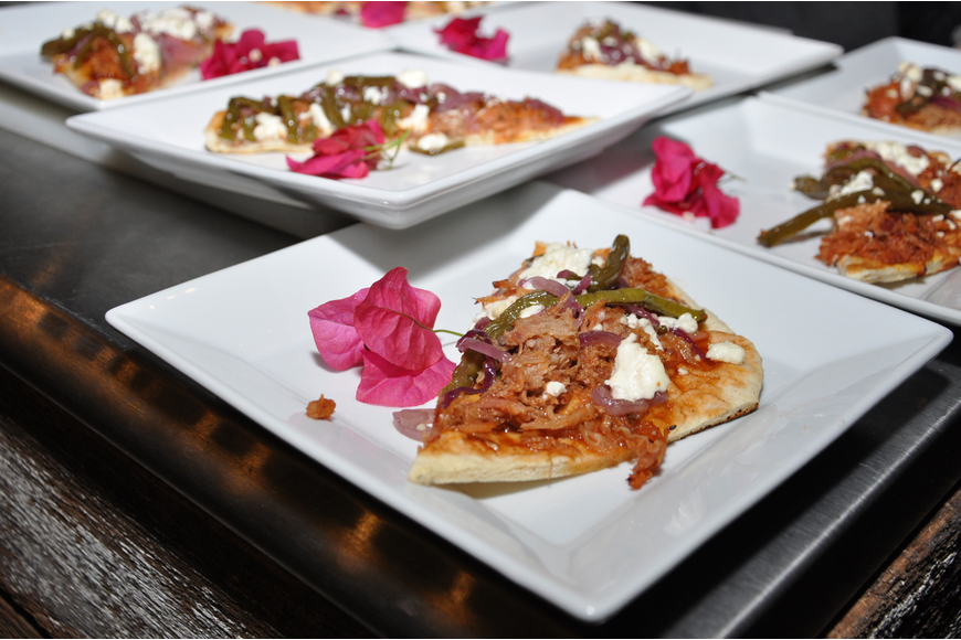 The third course at the event was a jaboticaba basil barbecue pork flatbread.