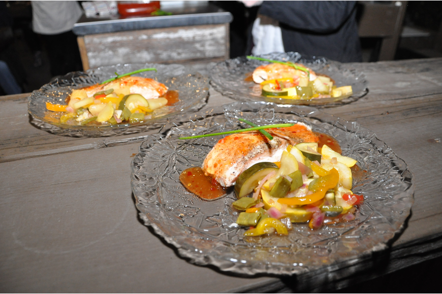 Thai Atlantic salmon with sautéed vegetables was the fourth course for guests.