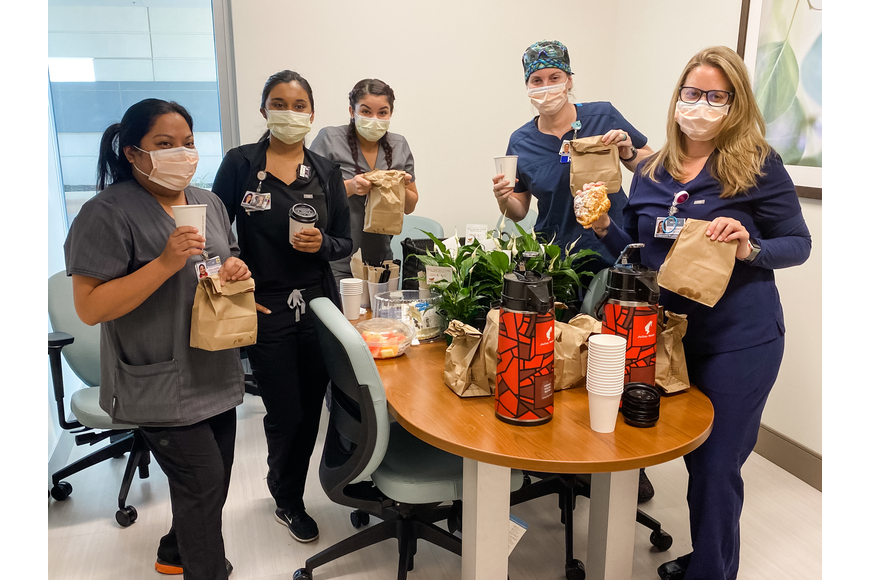 Nurses at Orlando Health Emergency Room and Medical Pavilion — Horizon West were treated to a delivery from The French Cafe.