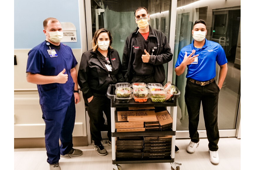 Nurses at Orlando Health Emergency Room and Medical Pavilion — Horizon West were treated to a delivery from The Pizza Press.