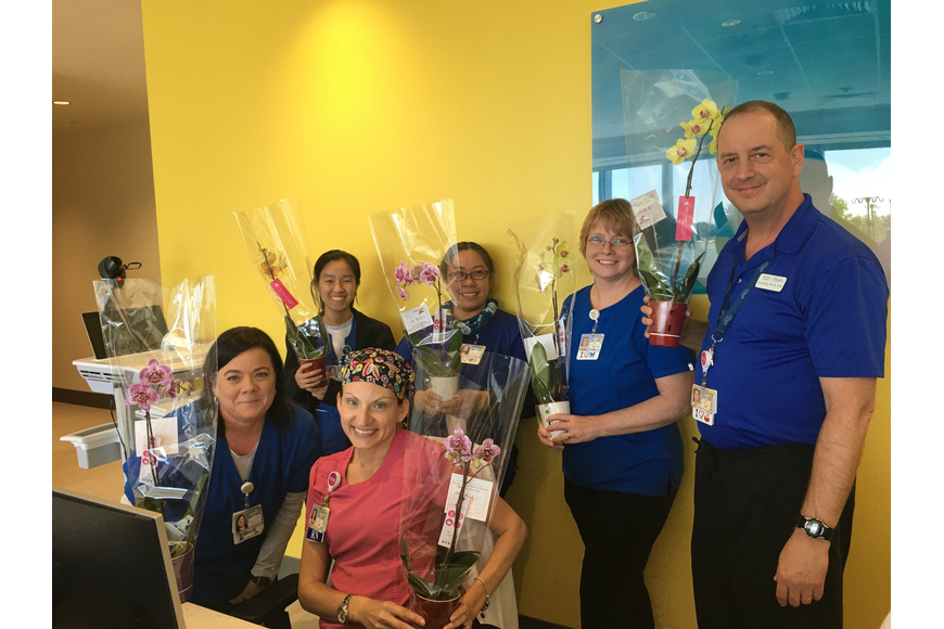Nurses at Orlando Health's Health Central Hospital were given beautiful orchids.