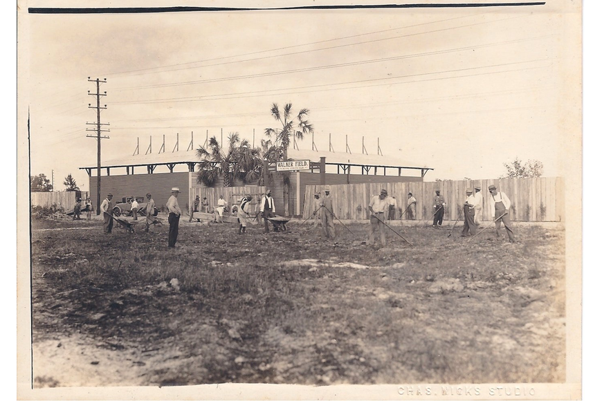 Workers built a popular baseball complex on Park Avenue.