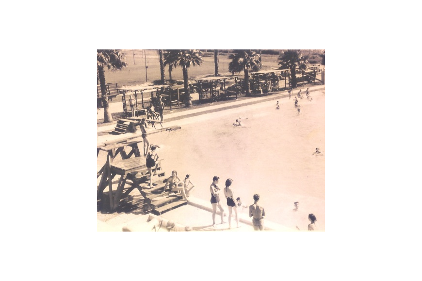 The Municipal Pool, later renamed Farnsworth Pool, was connected by two wells that provided 100,000 gallons of fresh water every 24 hours.