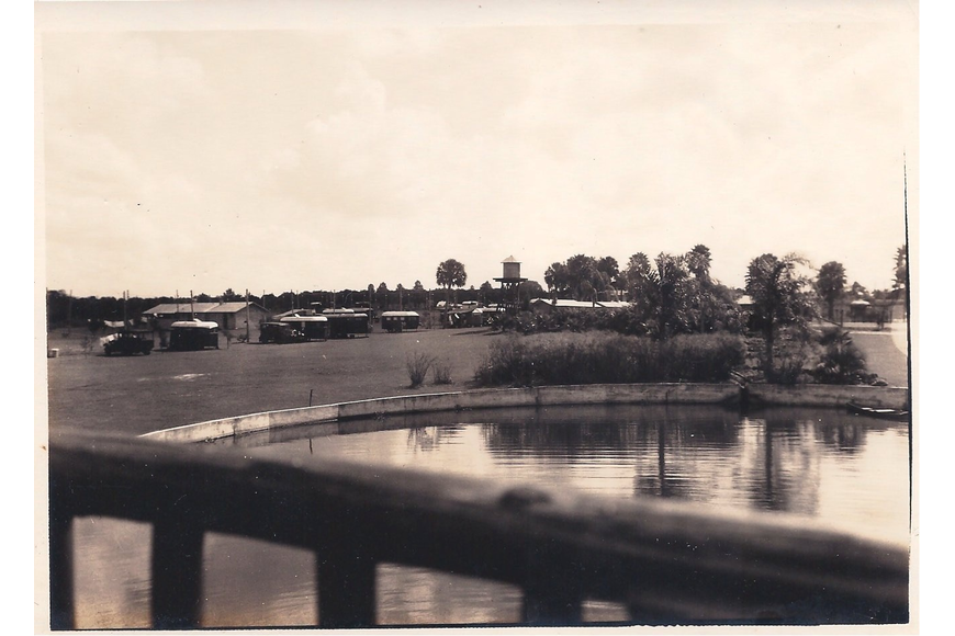 This photo of the earliest days of Trailer City possibly was taken from the pier. The water tower was located near a landscaped area that contained fish ponds and ornamental gardens.