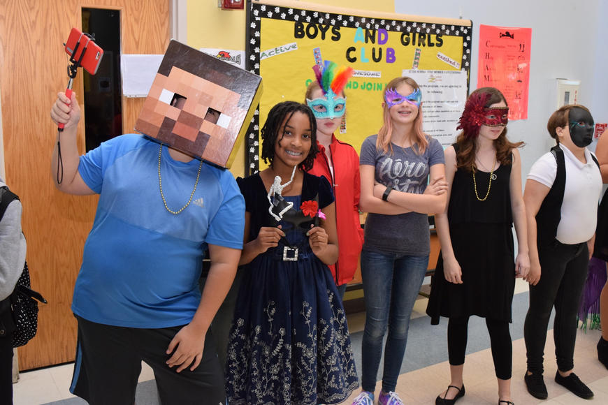 A student in a Minecraft mask came prepared with a selfie stick, along with others who took the time to get creative and make their own masks.