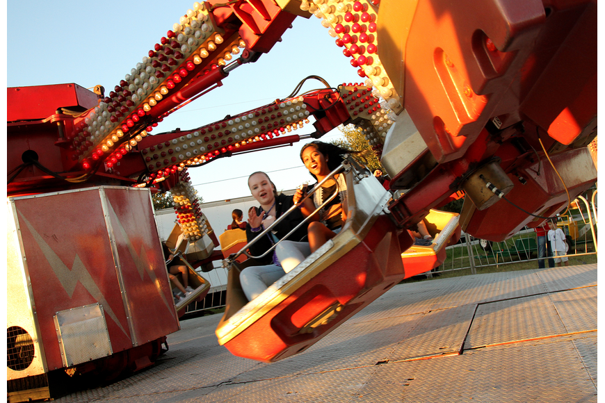 Gretchen Hopfer and Deepika Sirivolu braved one of the wildest rides at this year's Southwest Fall Fest.