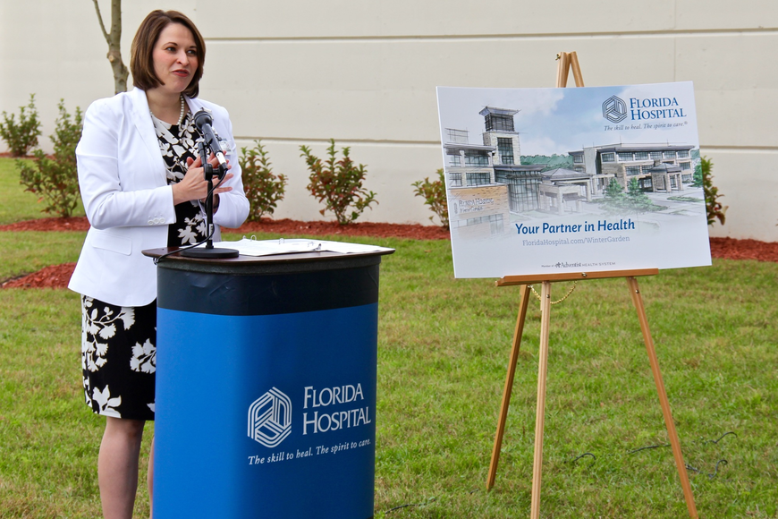 Amanda Maggard, campus administrator for Florida Hospital Winter Garden, welcomed city and community leaders to the ground-breaking ceremony for the hospital's new medical building.