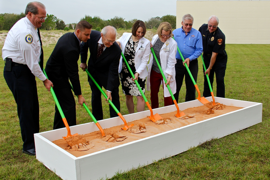 Orange sand and shovels were used during the groundbreaking ceremony for Florida Hospital Winter Garden's new medical building to represent Orange County.