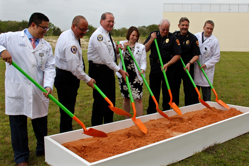 Several hospital physicians and emergency workers participated in the ground-breaking ceremony on Tuesday, Feb. 14.