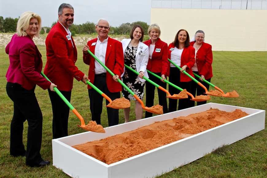Members of the West Orange Chamber of Commerce had a chance to dig in the dirt during the ground-breaking ceremony.