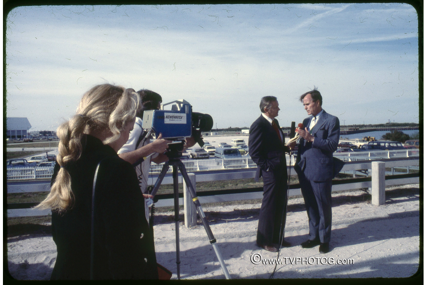 Photo by: Roger Scruggs - Anchor Ben Aycrigg, left, interviews Vice President George Bush at the Kennedy Space Center Press Site in 1981 for WDBO TV 6.
