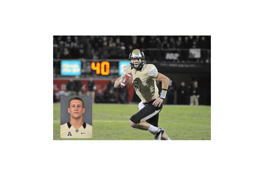Photo: Inset courtesy of UCF Athletics - Pete DiNovo (inset) will have big shoes to fill, replacing Blake Bortles, the former UCF Knight QB turned Jacksonville Jaguar who led the Knights to their best season of all time in 2013.