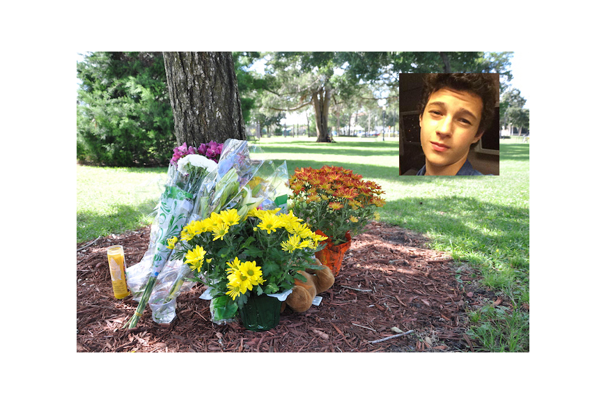 Inset photo courtesy Facebook - A memorial is growing in Winter Park's Central Park following the death of Roger Trindade, 15.