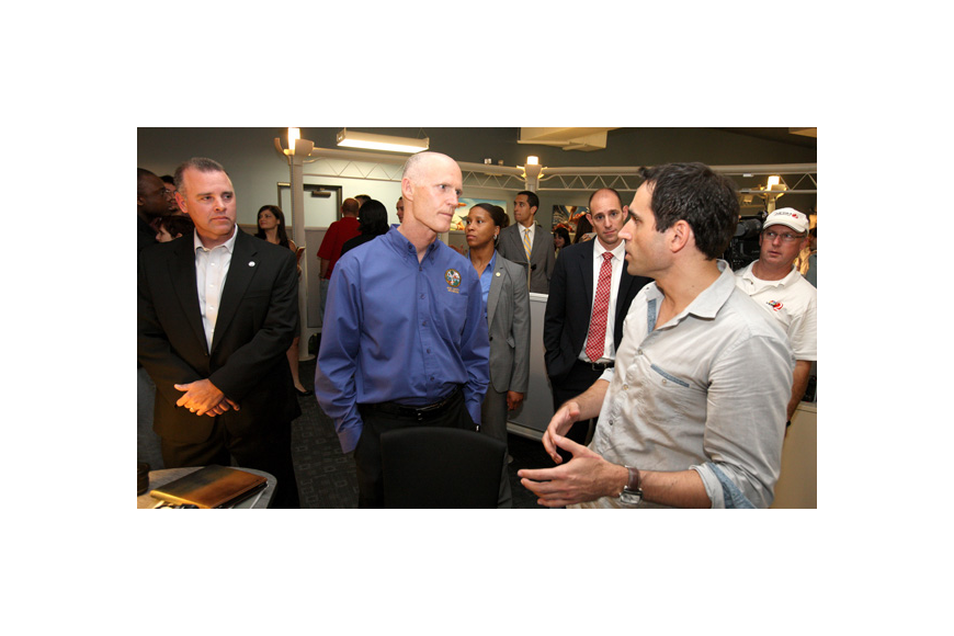 Photo by: COURTESY EA STUDIOS - Florida Gov. Rick Scott recently visited Maitland's EA Studios to discuss tech job