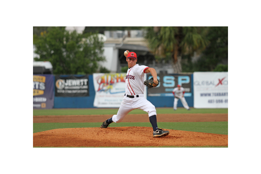 Photo by: Rebecca Males - Evan Incinelli struck out three and gave up only a run in the Dawgs' 5-4 win over the Orlando Monarchs July 5.