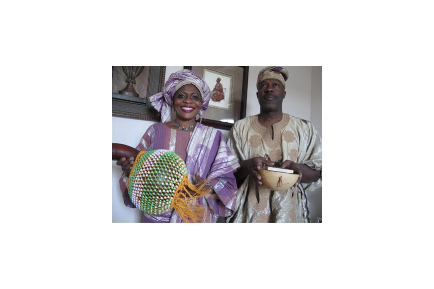 Photo by: Karen McEnany-Phillips - Tutu and Don Harrell, dressed in authentic Nigerian attire, will perform African music and folklore in this year's ArtsFest Florida, starting Thursday, Feb. 4.