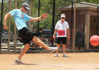 Photo by: Sarah Wilson - Maitland Mayor Howard Schieferdecker plays referee as fellow Council member John Lowndes gets in his kicks for charity at the fifth annual Friends of First Response Kickball Tournament on May 19.